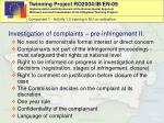 investigation of complaint s pre infringement ii