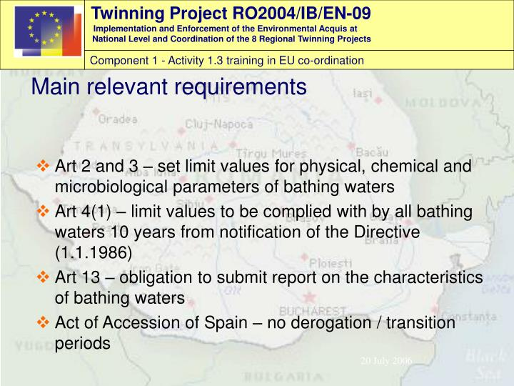 Art 2 and 3 – set limit values for physical, chemical and microbiological parameters of bathing waters