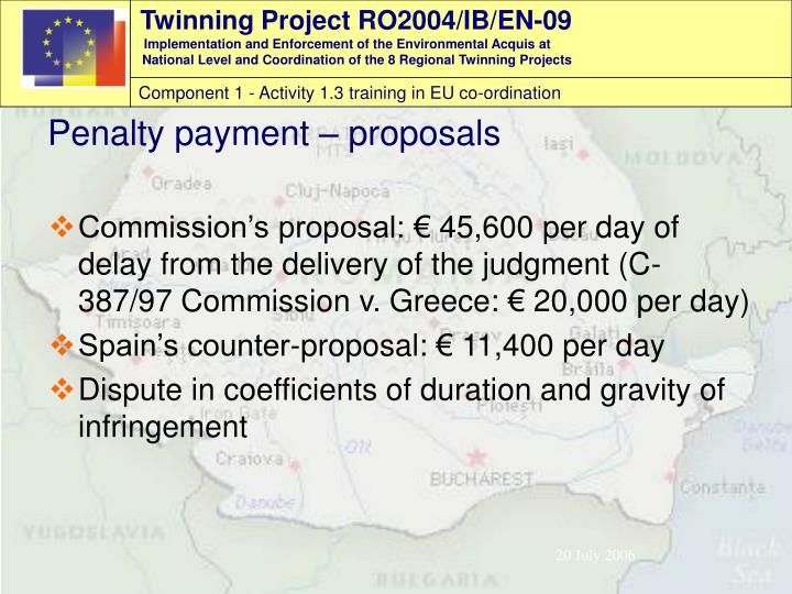 Commission's proposal: € 45,600 per day of delay from the delivery of the judgment (C-387/97 Commission v. Greece: € 20,000 per day)
