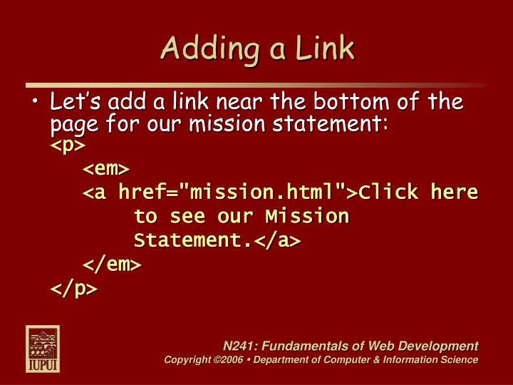 Adding a Link
