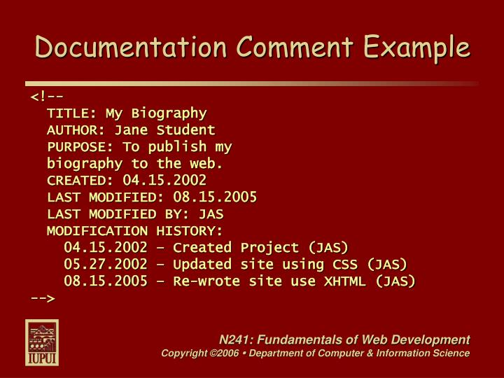 Documentation Comment Example