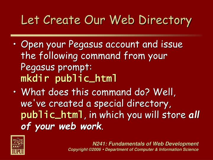 Let Create Our Web Directory