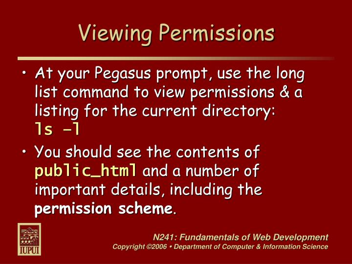 Viewing Permissions