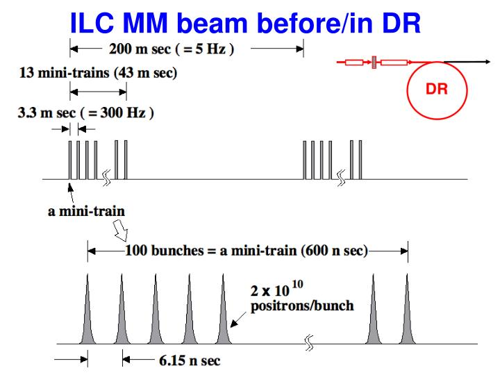ILC MM beam before/in DR