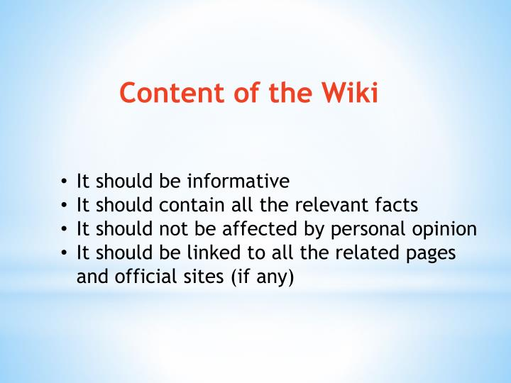 Content of the Wiki