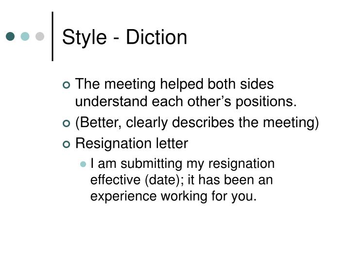 Style - Diction