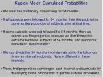 kaplan meier cumulated probabilities