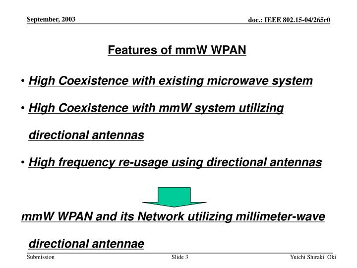 Features of mmW WPAN