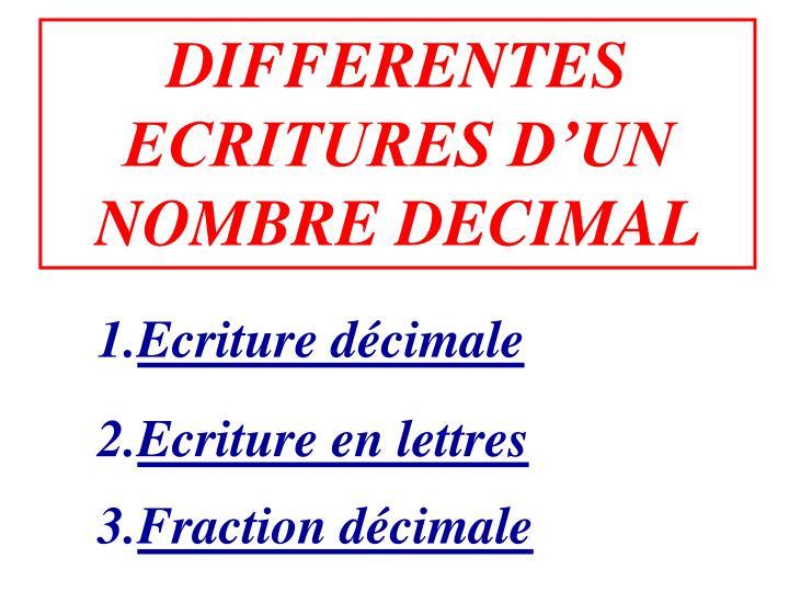 DIFFERENTES ECRITURES D'UN
