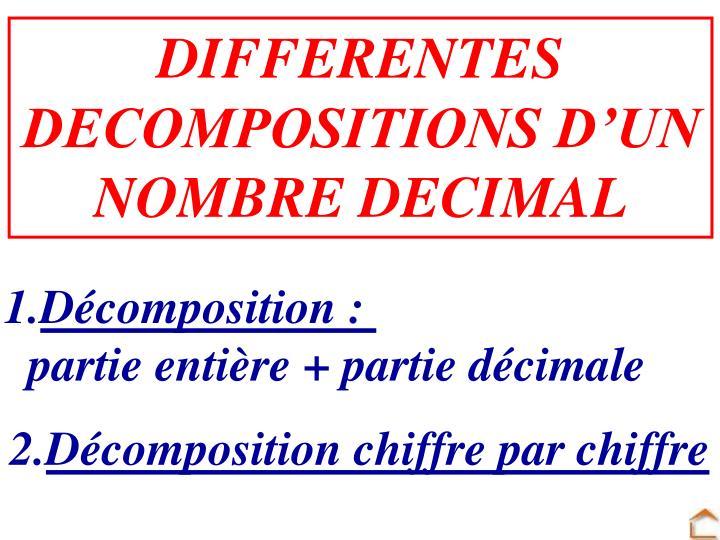 DIFFERENTES DECOMPOSITIONS D'UN