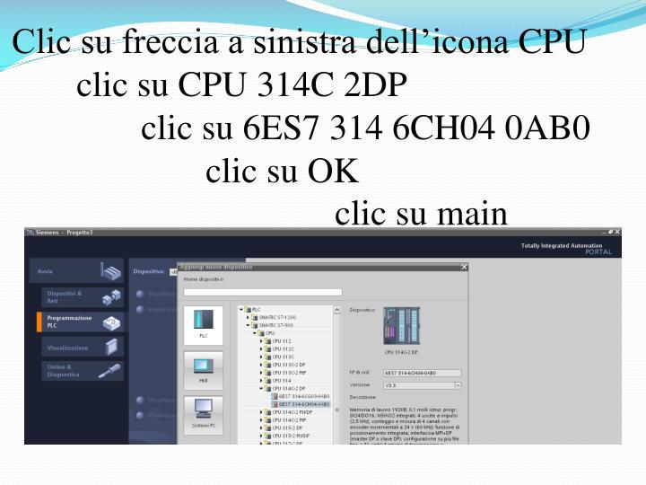 Clic su freccia a sinistra dell'icona