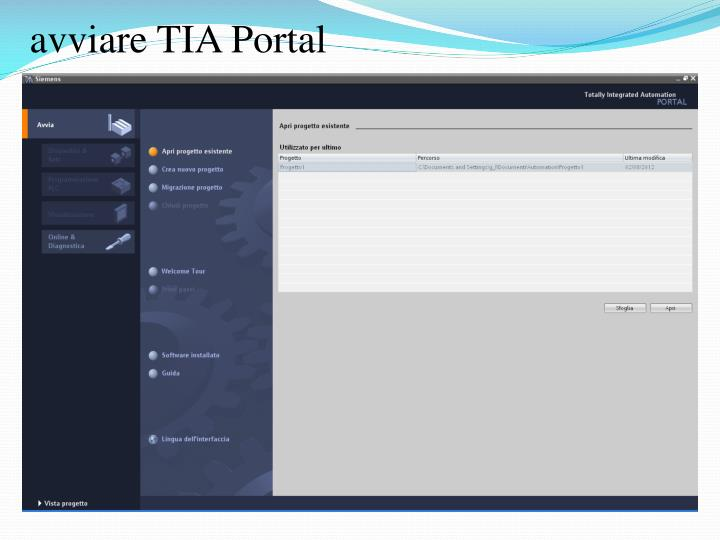 avviare TIA Portal