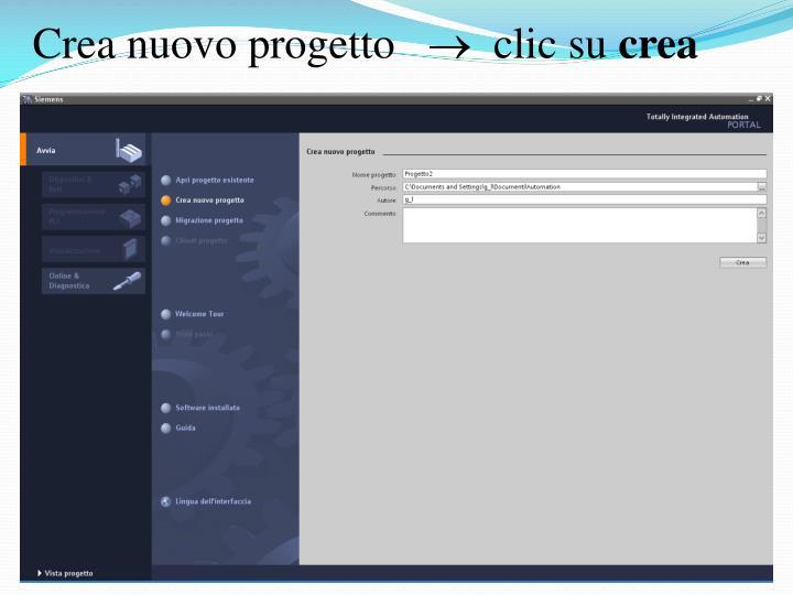 Crea nuovo progetto