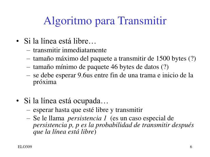 Algoritmo para Transmitir