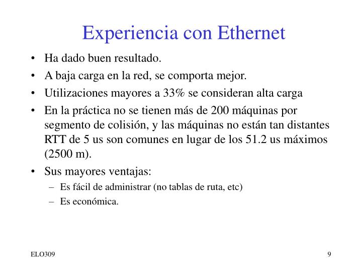 Experiencia con Ethernet