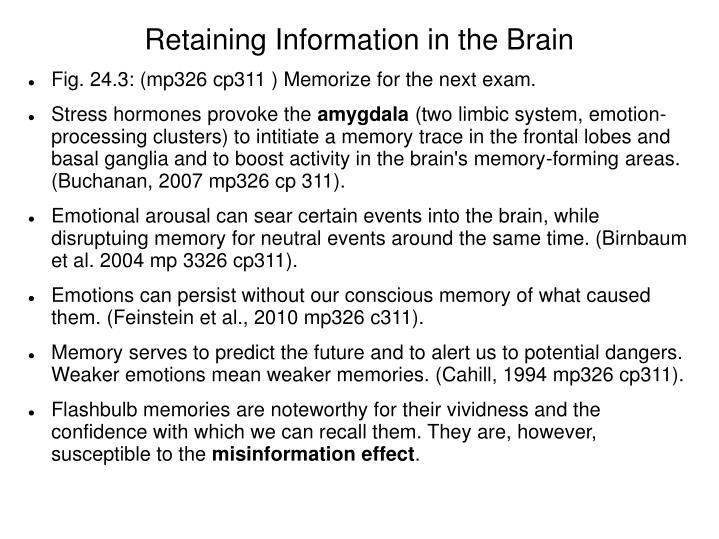 Retaining information in the brain2