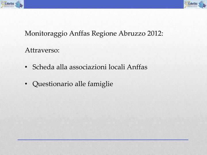 Monitoraggio Anffas Regione Abruzzo 2012: