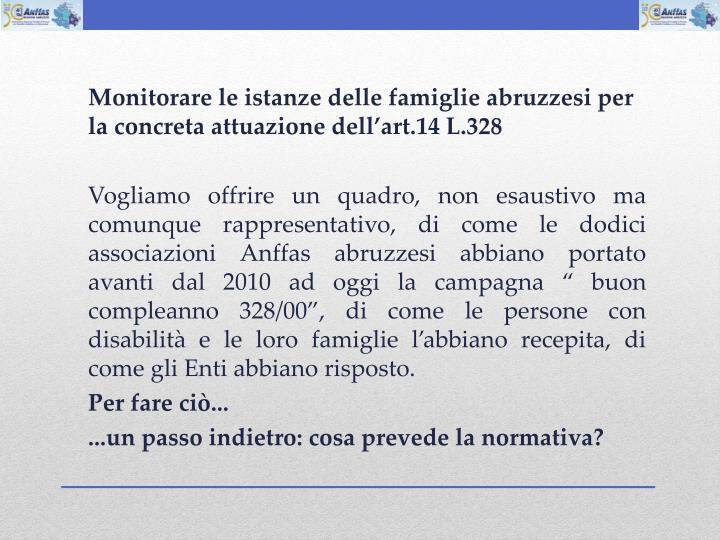 Monitorare le istanze delle famiglie abruzzesi per la concreta attuazione dellart.14 L.328