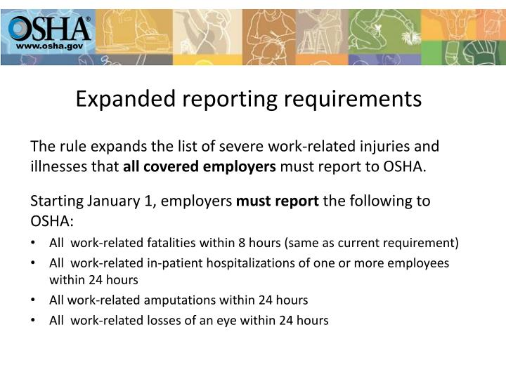 Expanded reporting requirements