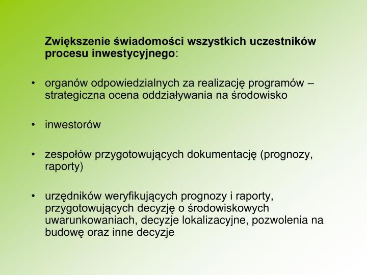 Zwikszenie wiadomoci wszystkich uczestnikw procesu inwestycyjnego