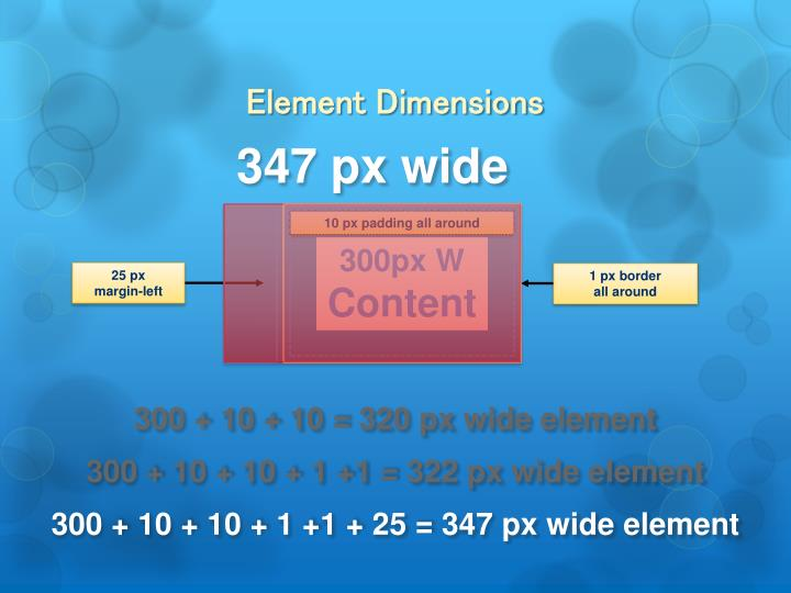 Element Dimensions