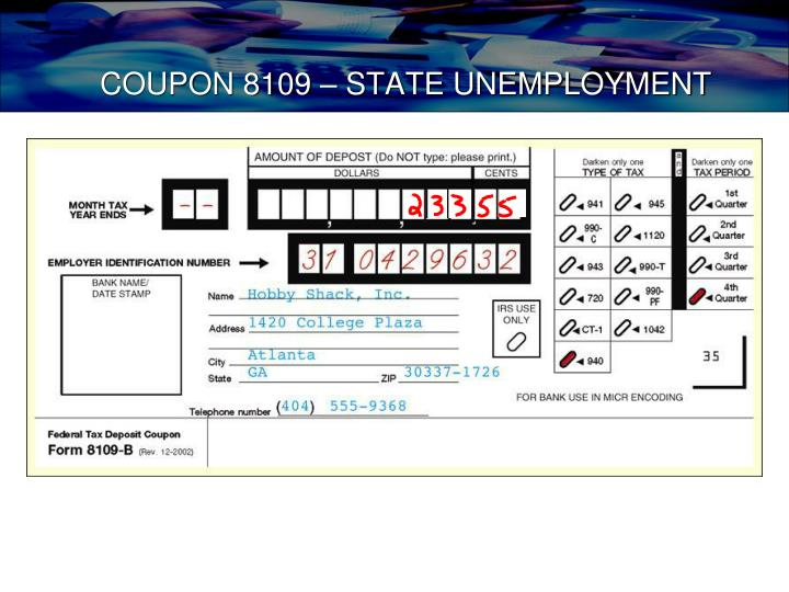 COUPON 8109 – STATE UNEMPLOYMENT