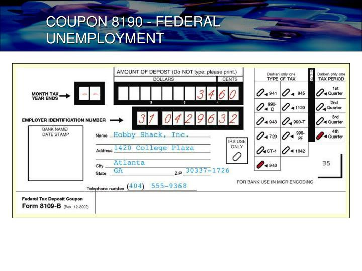 COUPON 8190 - FEDERAL UNEMPLOYMENT