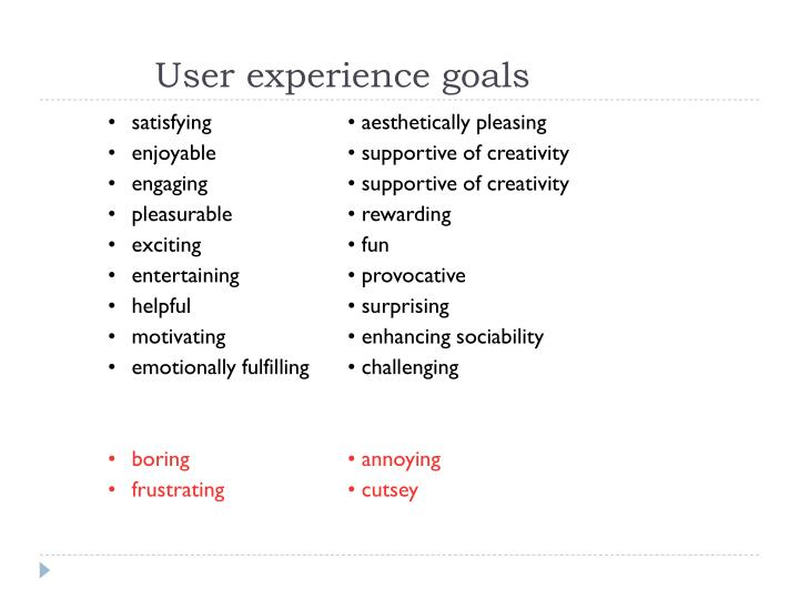 User experience goals