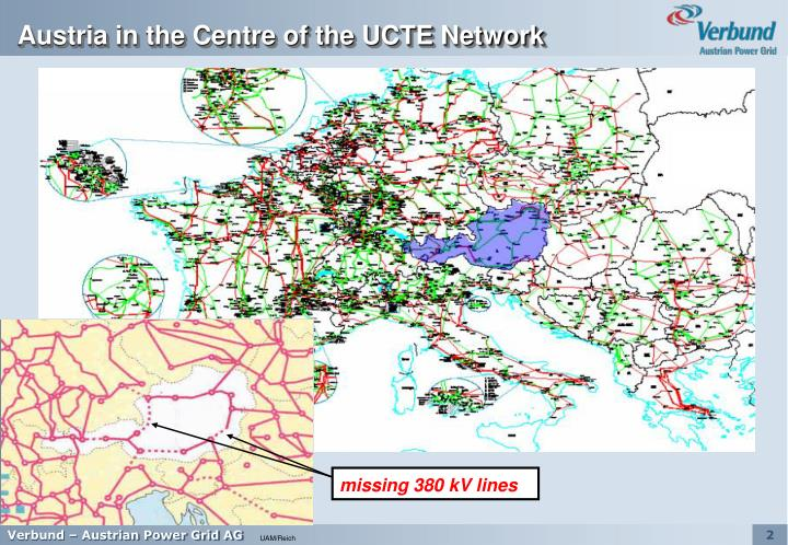 Austria in the centre of the ucte network