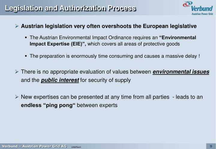 Legislation and Authorization Process