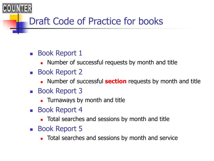 Draft Code of Practice for books
