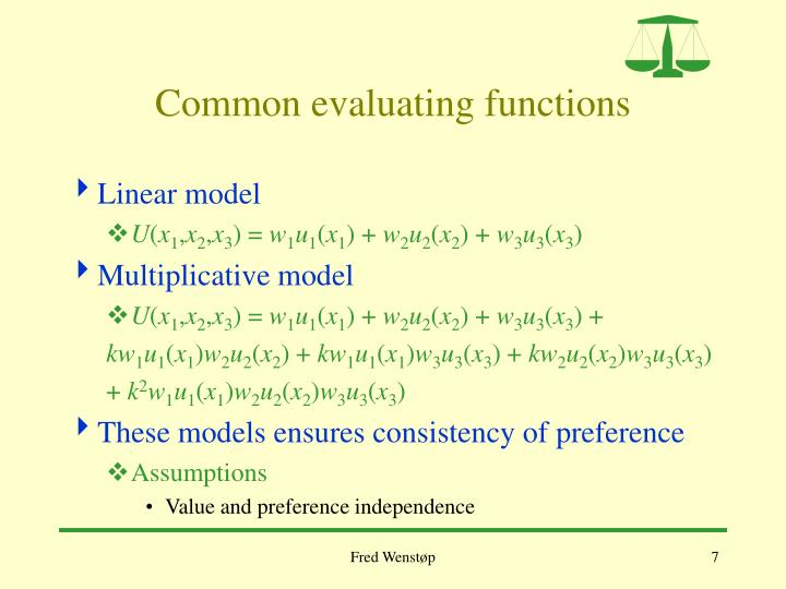 Common evaluating functions