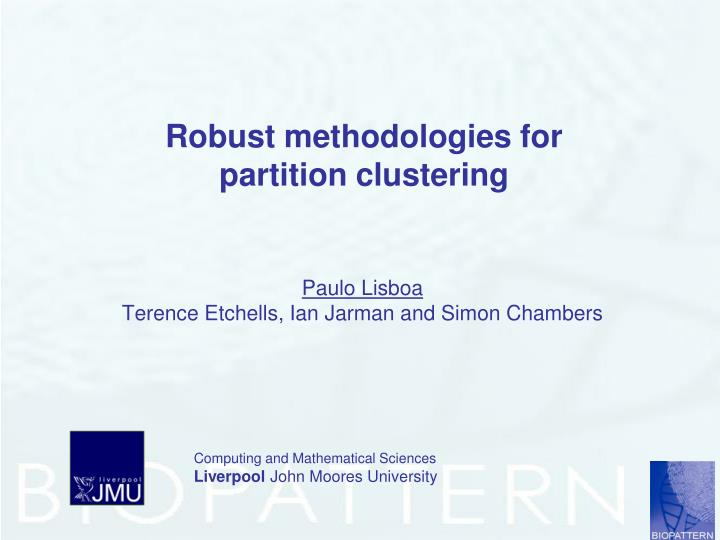 Robust methodologies for partition clustering