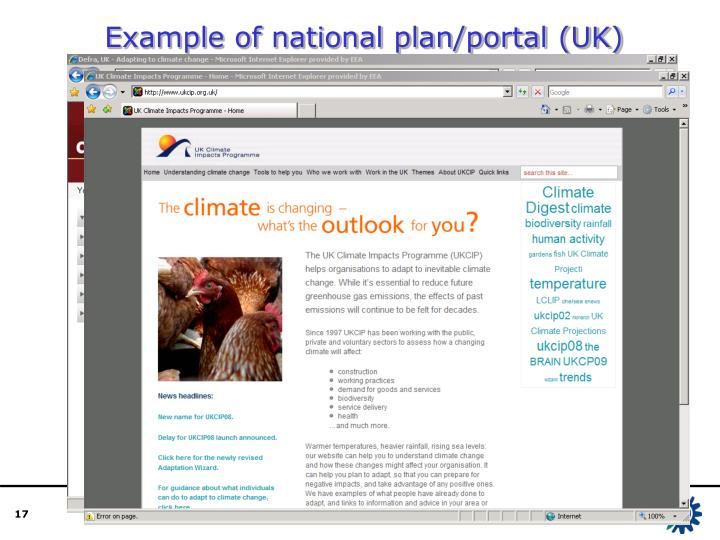 Example of national plan/portal (UK)