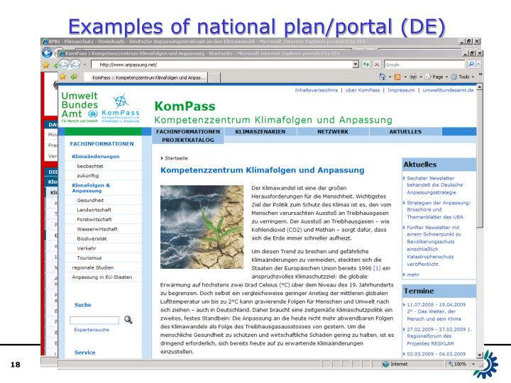 Examples of national plan/portal (DE)