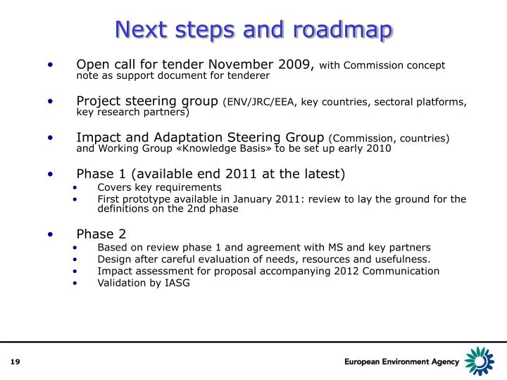 Next steps and roadmap