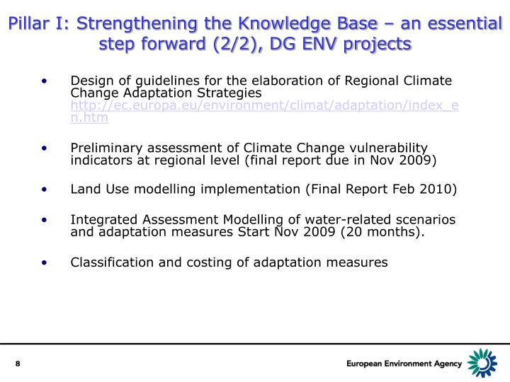Pillar I: Strengthening the Knowledge Base – an essential step forward (2/2), DG ENV projects