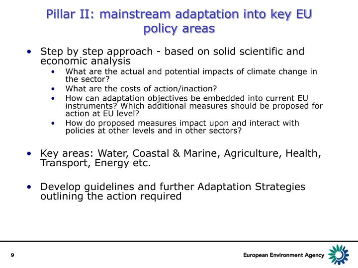 Pillar II: mainstream adaptation into key EU