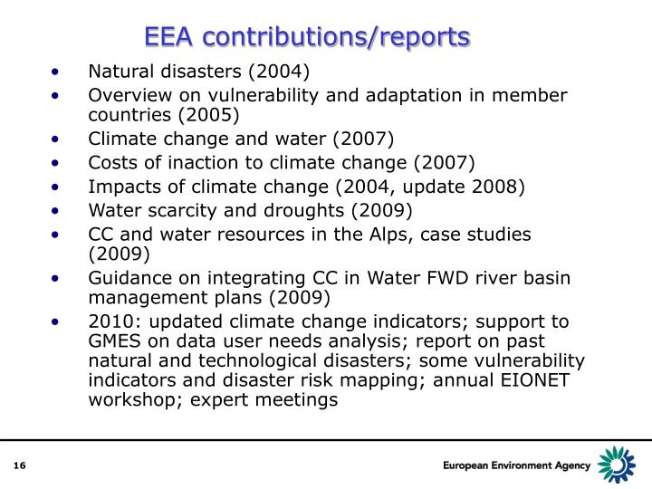 EEA contributions/reports