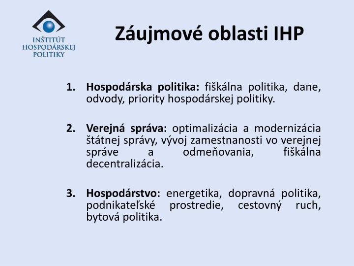 Záujmové oblasti IHP