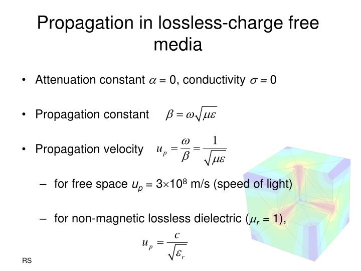 Propagation in lossless charge free media