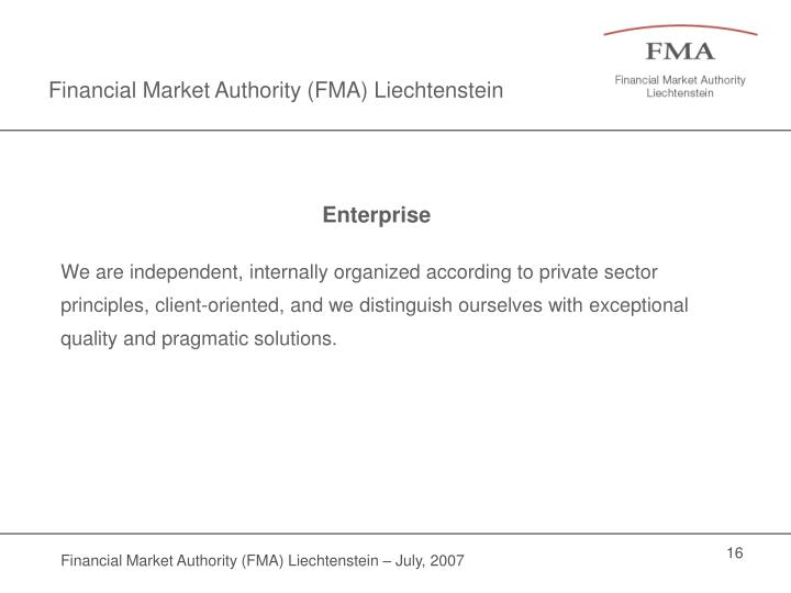 Financial Market Authority (FMA) Liechtenstein