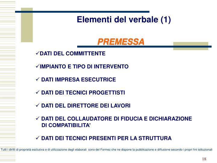 Elementi del verbale (1)