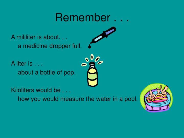Remember . . .