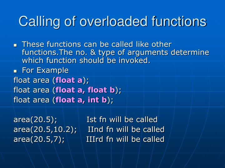 Calling of overloaded functions