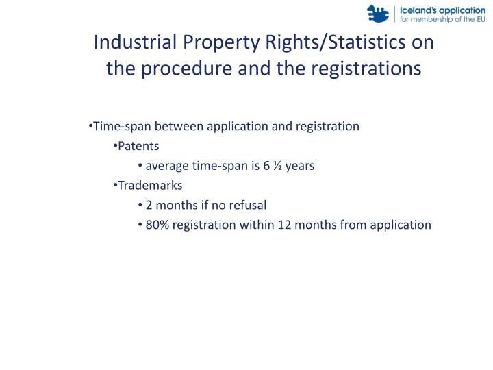 Industrial Property Rights/Statistics on the procedure and the registrations