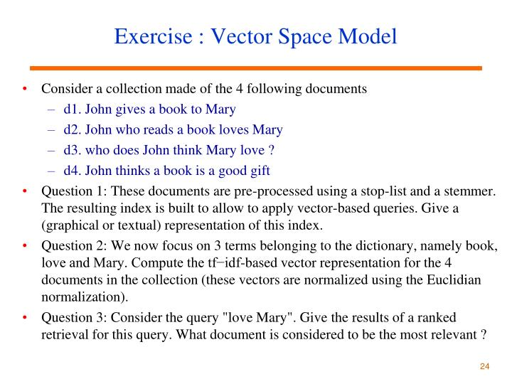 Vector space model query