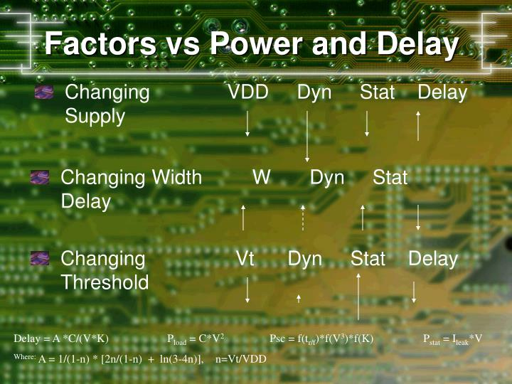 Factors vs power and delay