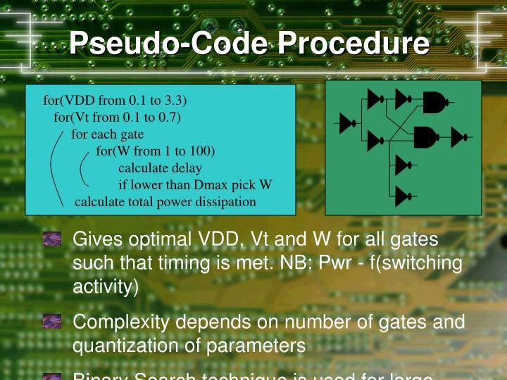 Pseudo-Code Procedure