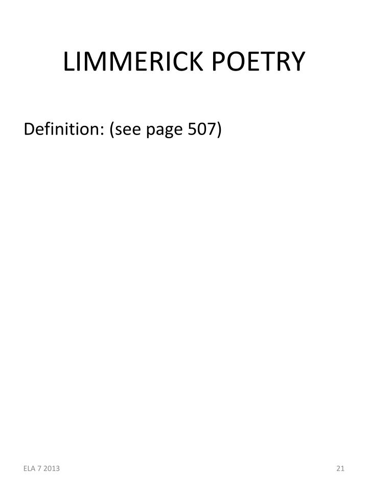 LIMMERICK POETRY